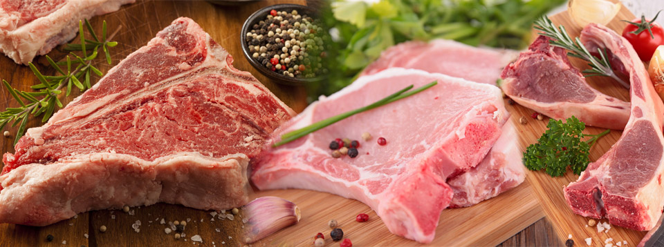 Raw Meats | T-Bone Steaks, Pork Chops, Lamb Chops