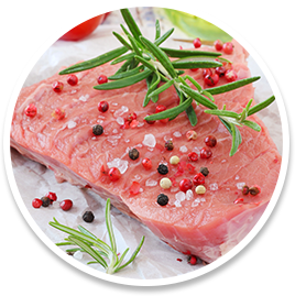 Raw Steak with Seasonings